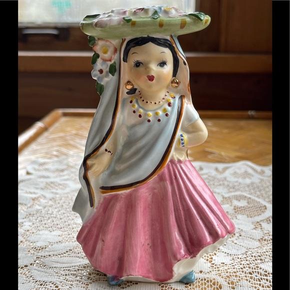 Pretty ethnic doll figurine, vintage